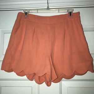 coral side zip shorts